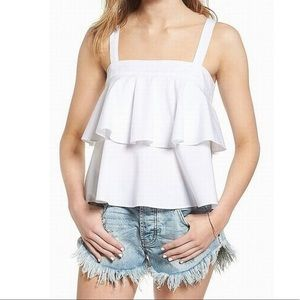 BP White Ruffle Tier Top- Size Small